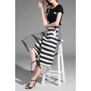 Top and Striped Wide Leg Pants -