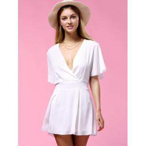 Women's Stylish Flare Sleeve V Neck Pure Color Romper -