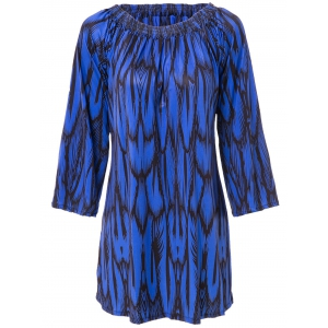 Simple Style Slash Neck Long Sleeve Print Dress - Deep Blue - Xl