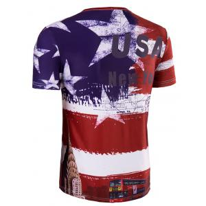 Slimming Collarless Bus Printing Short Sleeves For Men - COLORMIX 2XL
