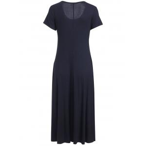 Stylish Scoop Neck Short Sleeve Maxi Dress For Women -