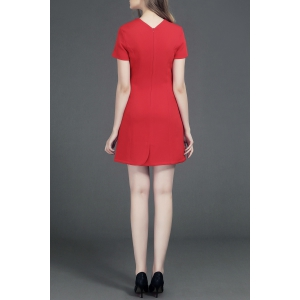 Round Neck Short Sleeve Solid Color Unique Tailored Dress -