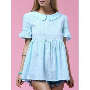 Sweet Doll Collar Flounced Sleeve Printed Women's Blouse