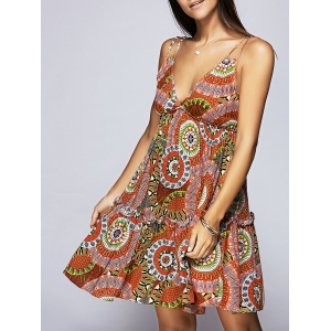 V Neck Printed Empire Waist Summer Dress