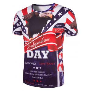 Slimming Letters Printing Collarless Short Sleeves For Men - COLORMIX 2XL