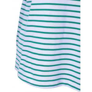 Casual Stripe T For Women - WHITE AND GREEN L