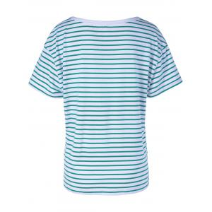 Casual Stripe T For Women - WHITE AND GREEN S