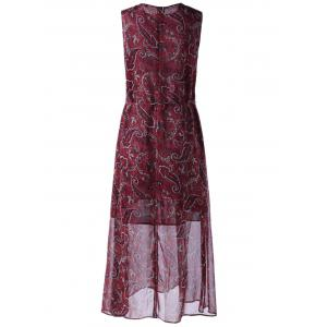 Retro Style Round Collar paisley Printing Dress With Sleeveless For Women - WINE RED S