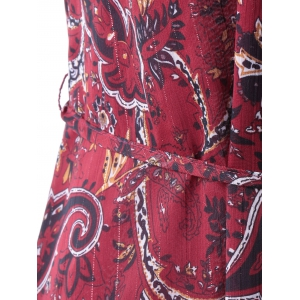 Retro Style Round Collar paisley Printing Dress With Sleeveless For Women -