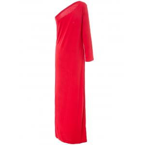 Women's Chic Long Sleeve One Shoulder Furcal Pure Color Dress -