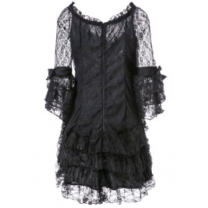 Stylish Sweetheart Neck 3/4 Sleeve Layered Lace Dress For Women -