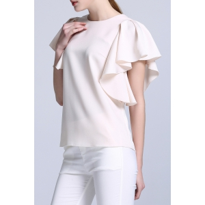Round Neck Frilly Sleeve Top -