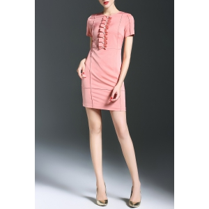 Packet Buttock Solid Color Dress -