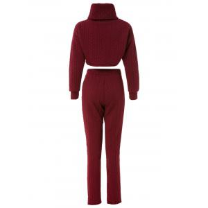 Stylish Turtleneck Solid Color Crop Top and High Waist Bodycon Pants Twinset For Women - WINE RED S