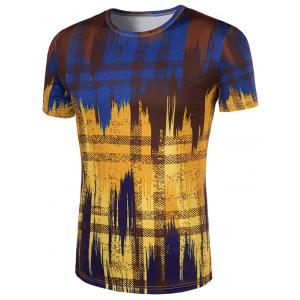 Slimming Painting Collarless Short Sleeves For Men - COLORMIX XL