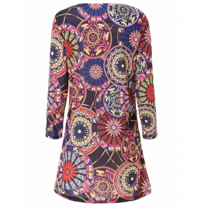 Stylish Scoop Neck 3/4 Sleeve Slimming Printed Women's Dress - COLORMIX M