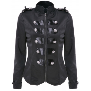 Stylish Stand Collar Long Sleeve Double-Breasted Slimming Jacket For Women