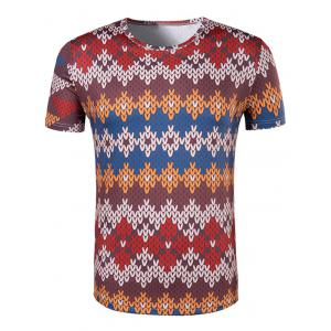 Slimming National Style Printed Collarless Short Sleeves For Men