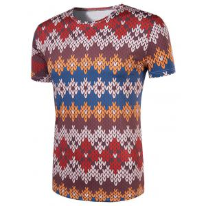 Slimming National Style Printed Collarless Short Sleeves For Men -