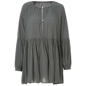Long Sleeve Pleated Mini Dress