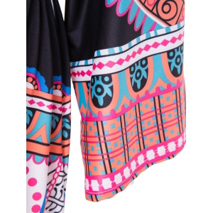 Bohemian Plunging Neck 3/4 Sleeve Tribal Print Women's Dress -