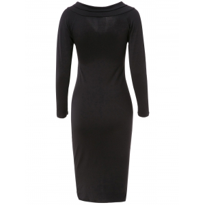 Women's Chic Pure Color Long Sleeve V-Neck Dress - BLACK XL