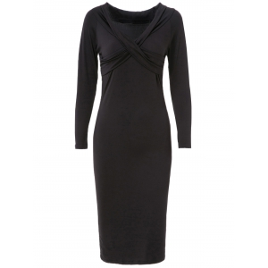 Midi Long Sleeve Criss Cross Bodycon Dress