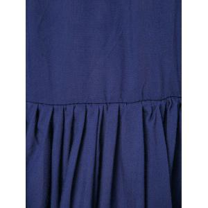 Stylish Plunging Neck Long Sleeve Solid Color Pleated Women's Mini Dress - DEEP BLUE L