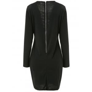 Sexy Plunging Neck Long Sleeve Black Lace-Up Hollow Out Women's Dress - BLACK XL