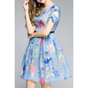Rolled Sleeve Girl Print Blue Dress -