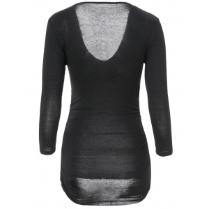 Sexy V-Neck 3/4 Sleeve Solid Color Fitted T-Shirt For Women -