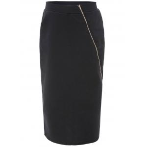 Diagonal Zip Pencil Midi Skirt