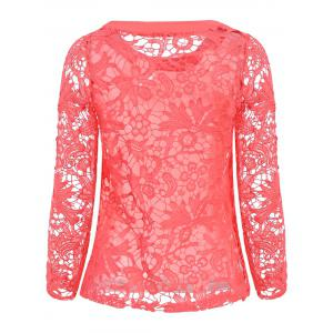 Stylish Round Neck Long Sleeve Hollow Out Solid Color Women's Blouse - WATERMELON RED M