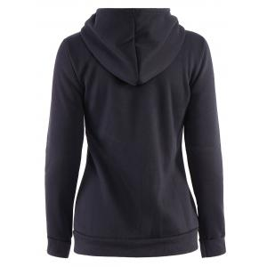 Stylish Hooded Long Sleeve Zip Up Solid Color Women's Hoodie -