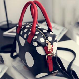 Fashionable PU Leather and Polka Dot Design Tote Bag For Women -