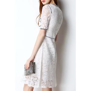 Slimming Guipure Lace Contrast Dress -