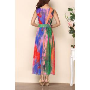 V Neck Colorful Maxi Dress -