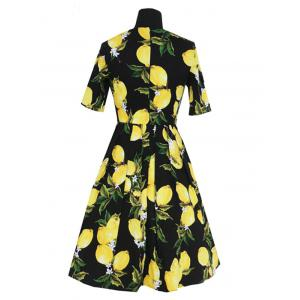 Refreshing Women's Lemon Pattern Pleated Dress -