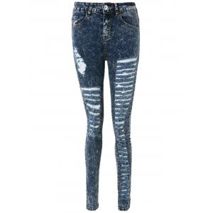 High Waisted Skinny Ripped Jeans - Deep Blue - 2xl