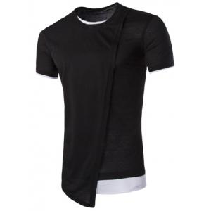 Asymmetric Top Fly Color Spliced Round Neck Short Sleeves Slimming T-Shirt For Men - Black - 2xl