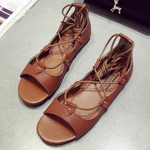 Vintage Lace-Up and Solid Color Design Sandals For Women -