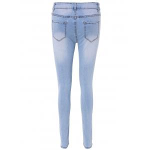 High Waisted Skinny Blench Wash Jeans - LIGHT BLUE XL