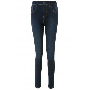 High Waisted Skinny Jeans - Deep Blue - M