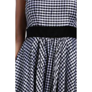 Back Zippered Checked Dress -
