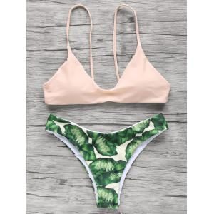 Palm Tree Spaghetti Straps Bikini - Light Apricot Pink - S