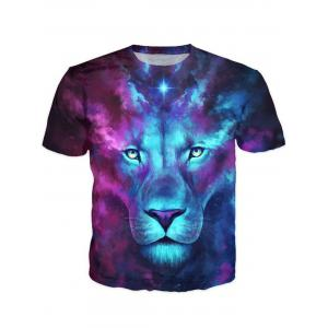 Round Neck 3D Color Block Lion Print Galaxy T-Shirt