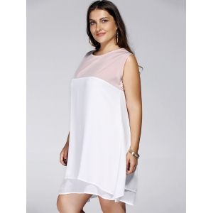 Plus Size Sleeveless Round Neck Color Block Women's Dress -