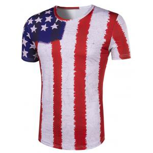 Hot Sale 3D Stripes Printed Round Neck Short Sleeve T-Shirt For Men -