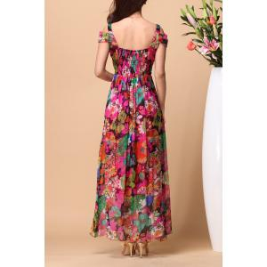 Backless Floral Maxi Swing Summer Dress - COLORMIX XL