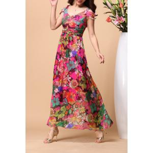 Backless Floral Short Sleeve Maxi Swing Summer Dress - COLORMIX XL